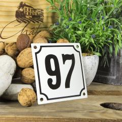 Huisnummerbord wit klein 10x10 cm nummer 96