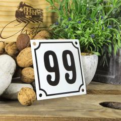 Huisnummerbord wit klein 10x10 cm nummer 98