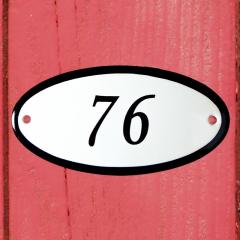 Huisnummerbordje ovaal nummer 75