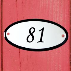 Huisnummerbordje ovaal nummer 80