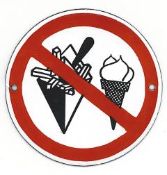 Pictogram: verboden te eten/drinken